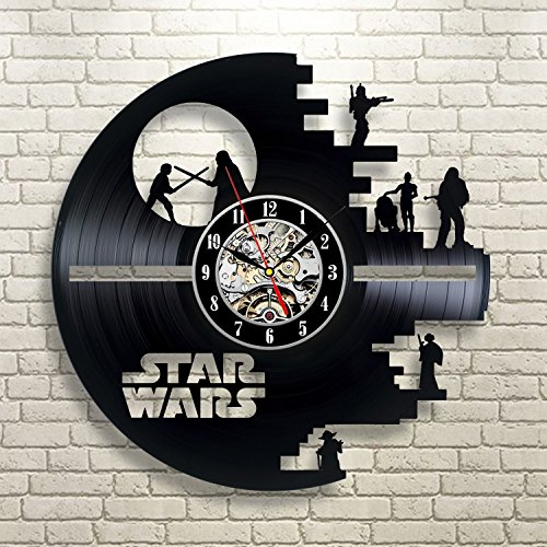 Star Wars Death Star Darth Vader Princess Leia Master Ioda Movie Characters Vinyl Record Design Wall Clock - Decorate your home with Modern Famous Star Wars Story Art - Best gift for him or her