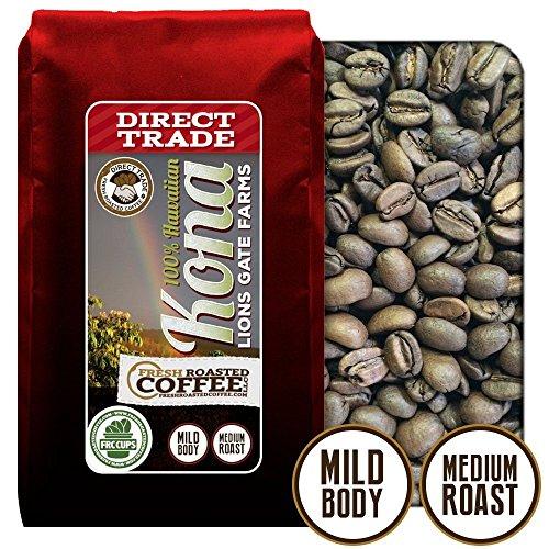 100% Hawaii Kona Lions Gate Farm - Direct Trade , Whole Bean Coffee, Fresh Roasted Coffee Llc. (12 Oz.)