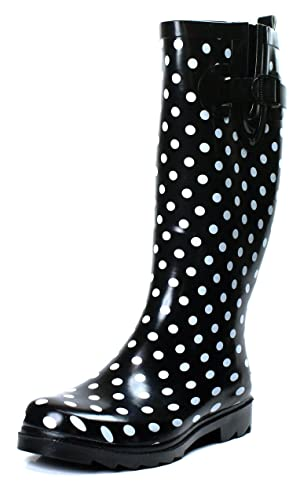 OwnShoe Polka Dot Rain Boots Black Knee High Womens Rubber Shoes (10)
