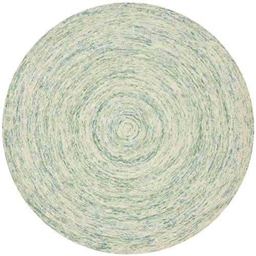 Safavieh Ikat Collection IKT635A Handmade Ivory and Blue Wool Round Area Rug, 4 feet in Diameter (4' Diameter)
