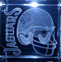 3D Laser Etch Crystal Glass Paper Weight NFL Jacksonville Jaguars 2 Inch Square & Logo Gift Box
