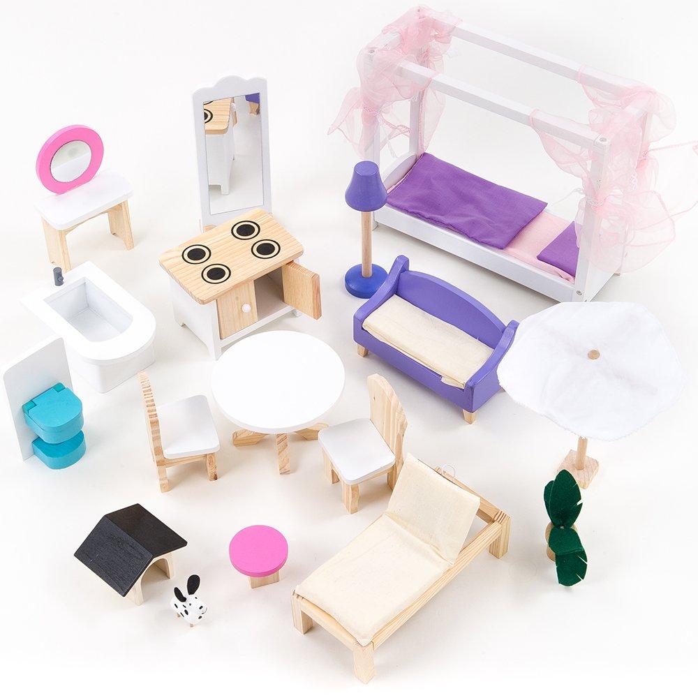 Mamakiddies Wooden Barbie Dolls House Furniture Set (17 Pieces) günstig