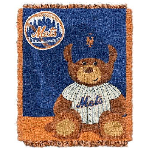 Mlb New York Mets Field Woven Jacquard Baby Throw Blanket, 36X46-Inch front-504627