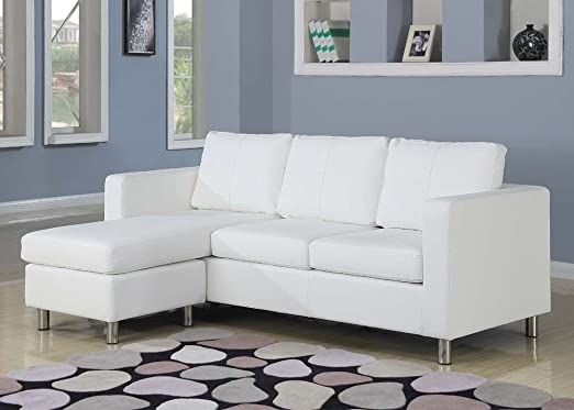 Kemen White Bycast PU Sectional Sofa 15065