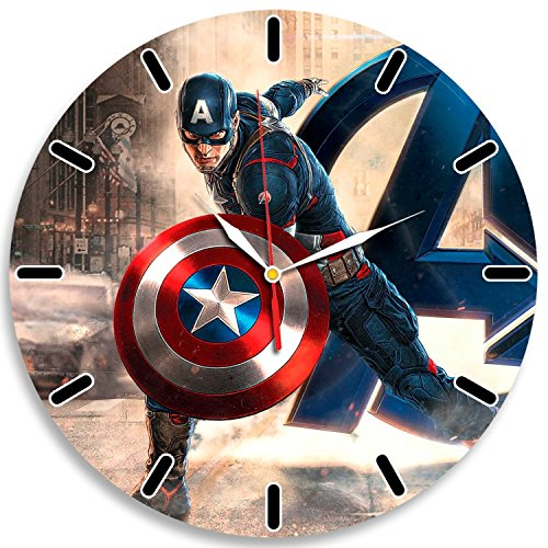 Civil War Captain America Decal Waterproof Color Modern Wall Clock - Decorate your home with Colored Fashion Art - Best gift for man, friend, girlfriend, family - Win a prize for feedback (Black Widow Action Figure 12 Inch compare prices)