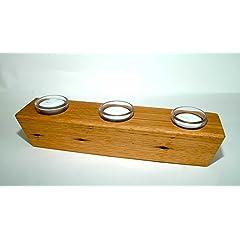 OAK Barnwood SUGAR MOLD CANDLE HOLDER - 3 Tealights & Glass Votive Holders