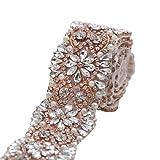 XINFANGXIU Wide Wedding Dress Rhinestone Belt Applique Crystal Bridal Wedding Dress Ribbon Sash Applique (Color: Rose Gold-085n, Tamaño: 36*1.9 Inches)