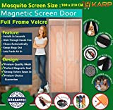 KARP Premium Quality Magnetic Screen Door Full Frame Velcro - Keep Bugs Out Lets Fresh Air In. No More Mosquitos or Flying Insects - Children and Pet Friendly, Instant Bug Mesh with Top-to-Bottom Seal, Snaps Shut Like Magic for a Hands-Free Bug-Proof Curtain - (3 Foot Length X 7 Foot Height) (Black Color) Package weight - 635 Gram