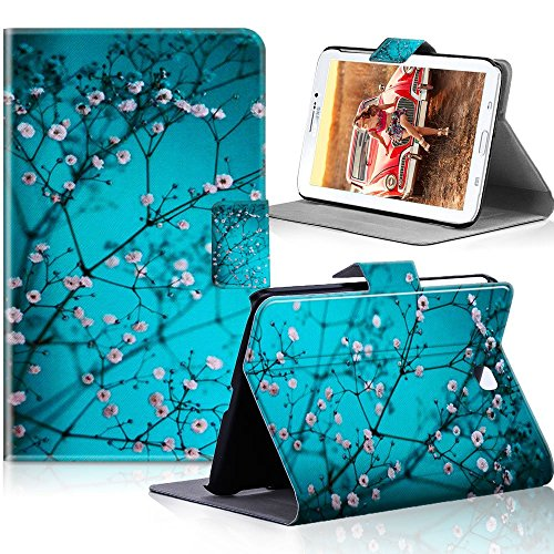 Galaxy Tab 3 7.0 SM-T210 Case, HAOCOO Stylish Art Printed Flip PU Leather Stand Protective Case with Card Slots and Auto Sleep/Wake Feature for Samsung Galaxy Tab 3 7.0 inch Tablet (Blossom)