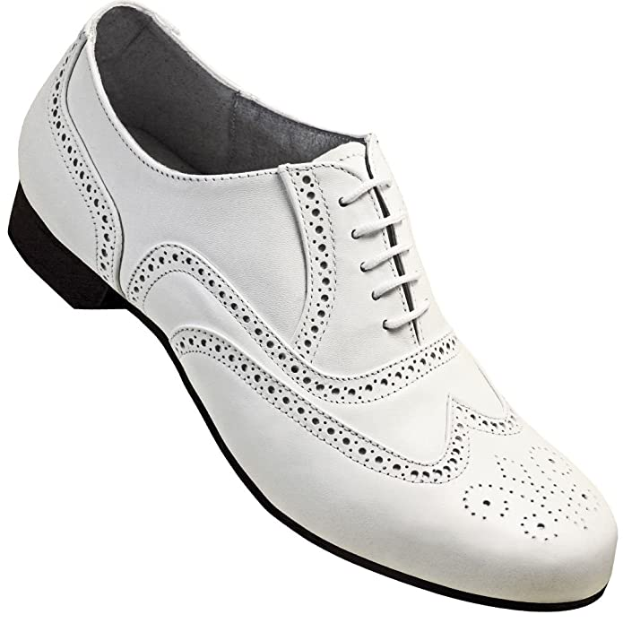 1940s Style Mens Shoes Mens 1930s White Spectator Wingtip Dance Shoe $79.95 AT vintagedancer.com