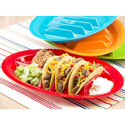 Set Of 2 - Fiesta Taco Plates / Taco Stand Up Holder *Assorted Colors*