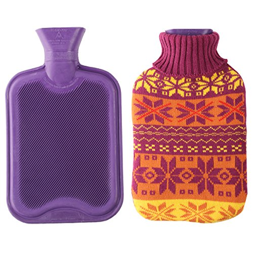 2 Liter Premium Classic Rubber Hot Water Bottle w/ Cute Knit Cover (2 Liter, Purple / Christmas Snowflake) (Hot Water Bottle For Pain compare prices)