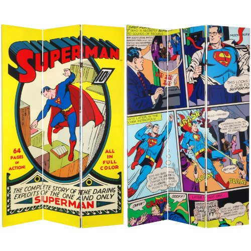 Oriental Furniture 6 ft. Tall Double Sided Superman No. 1 Canvas Room Divider