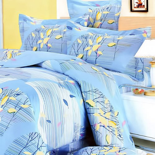 Blancho Bedding - [Tender Blue] 100% Cotton 4PC Comforter Cover/Duvet Cover Combo (Full Size)