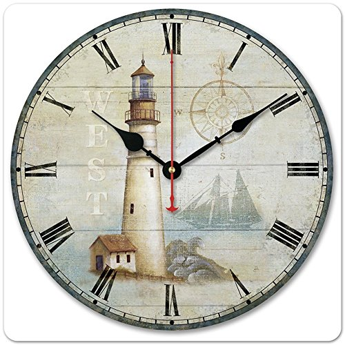 "iCasso 12"" 30cm Vintage Lighthouse West Compass Ship Wood Wall Clock Wooden Wall Art Decor"