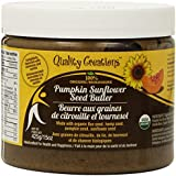 Pumpkin Sunflower Seed Butter - 100% Organic. Pumpkin, Sunflower, Flax and Hemp Seeds. Nut Free. GMO Free. Gluten Free. Cinnamon and Vanilla Adds a Wonderful Flavor Twist. 425g/15oz