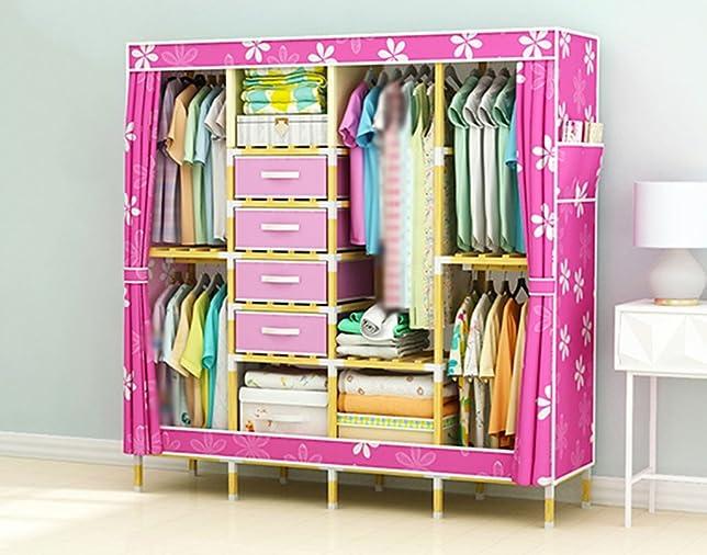 LI JING SHOP - Stampare la tenda della parte superiore della tenda del vestiario del panno dell'armadio dell'assemblea del telaio in legno massiccio W165 × D45 × H170cm ( Colore : Pink-1 )