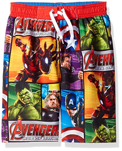 Marvel Big Boys Avengers Hulk Ironman Hawkeye Captain America Swim Trunk, Blue, 8 (Boys Swim Trunks Marvel compare prices)