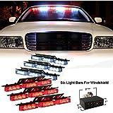 XKTTSUEERCRR 54x LED Ultra Bright Emergency Service Vehicle Dash Deck Warning Flashing Strobe Light (Red & White)