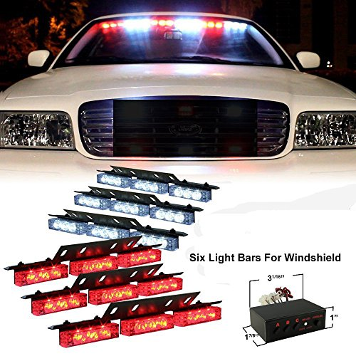 Xkttsueercrr 54X Led Ultra Bright Emergency Service Vehicle Dash Deck Grill Warning Flashing Strobe Light (Red & White)
