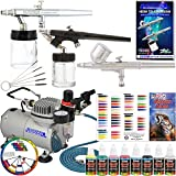 Complete Professional Master Airbrush Multi-Purpose Airbrushing System with 3 Master Airbrushes, U.S. Art Supply Airbrush Paint Kit with 6 Primary Colors, Color Mixing Wheel, Color Guide - Airbrush Models: G22 Gravity Feed, S58 Siphon Feed, E91 Siphon Feed and the TC-20 Professional Airbrush Compressor