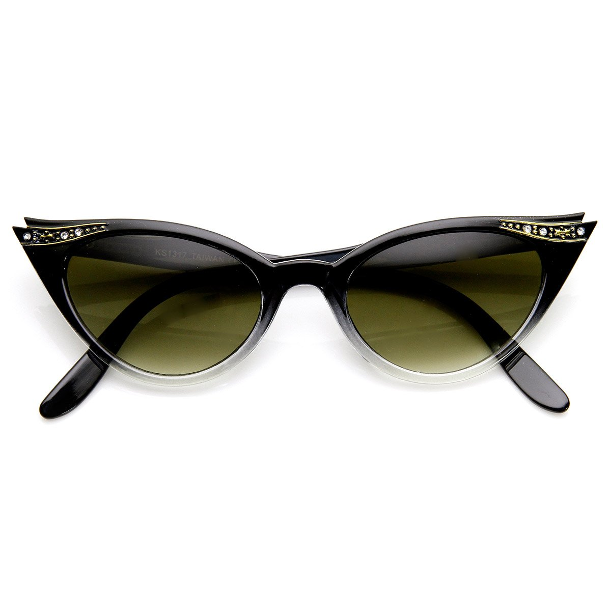 zeroUV - Vintage Inspired Mod Womens Fashion Rhinestone Cat Eye Sunglasses 0