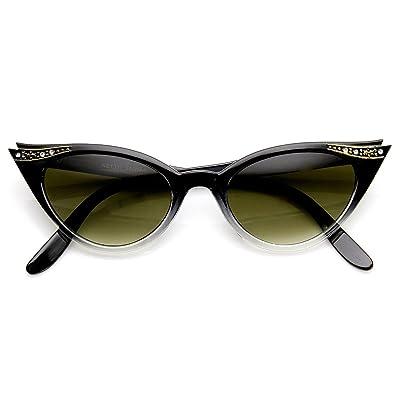zeroUV Vintage Inspired Mod Women's Fashion Rhinestone Cat Eye Sunglasses