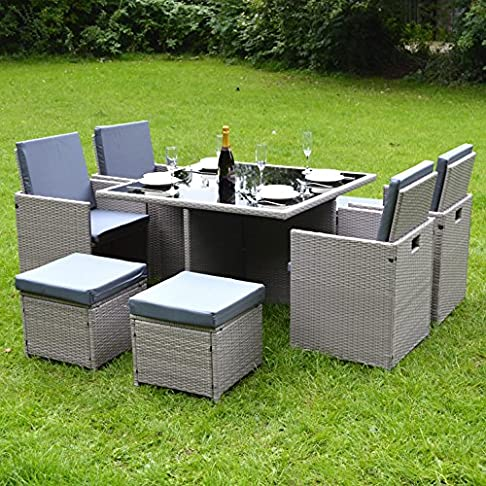 Eden Furnishings - Collezione Bianchi - Set daesterni/giardino, composto da tavolo e sedie, in rattan sintetico, design cubico, colori: nero, grigio, marrone