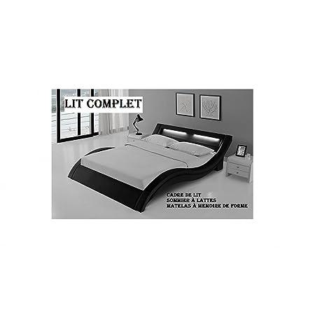 LIT COMPLET LED LAURINE 140x190cm + Matelas Essentiel mémoire de forme