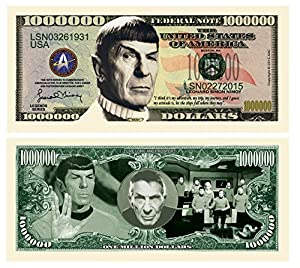 Leonard Nimoy Star Trek Spock Collectible Million Dollar Bill in Currency Holder