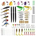 PLUSINNO Fishing Lures Tackle, 102Pcs Including Frog Lures, Hard Lures, Crankbaits, Spinnerbaits, Spoon Lures, Soft Lures, Popper, Crank, Tackle Box and More Fishing Gear Lures Kit Set by PLUSINNO