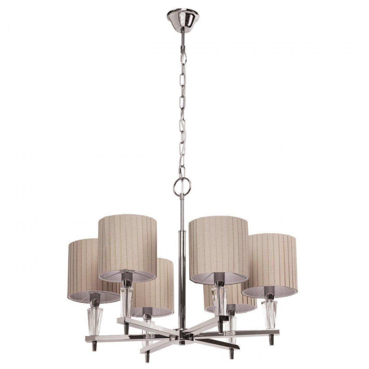 Deckenleuchte Deckenlampe Lampe Leuchte Megapolis Style, Ø 52 cm, Chrom mit Kristallen, 6 x E27 max. 60 W