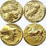 アテナ/フクロウとアテナ/ペガサス 2 の硬貨、ギリシャの神および女神コイン コレクション、(#2 G、12 G)