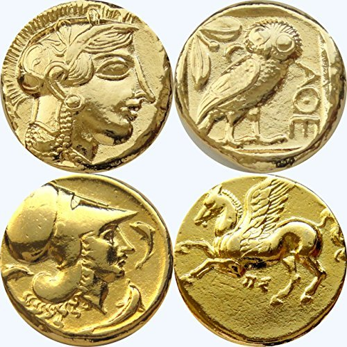 Dieu grec Athena/Owl et Athena/Pegasus, 2 pièces de monnaie et les déesses, Collection numismatique, (#2-G, 12 G)