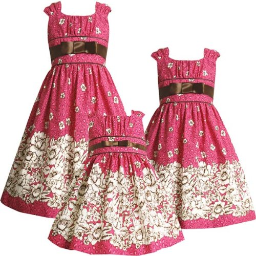 Size-4 BNJ-3257-B FUCHSIA-PINK IVORY BROWN FLORAL TOILE LEOPARD PRINT Special Occasion Wedding Flower Girl Party Dress,B33257 Bonnie Jean LITTLE GIRLS
