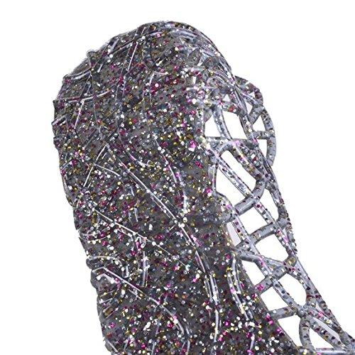 EGELEXY Womens Slip On Ballet Flats Jelly Mesh Flat Sandals US 7 Black