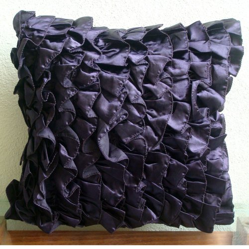 Vintage Violet - 26X26 Inches Square Decorative Throw Violet Satin Euro Sham Covers With Satin Ruffles front-755875