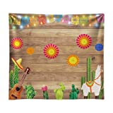Funnytree 8x8ft Durable Fabric Mexican Fiesta Theme Photography Backdrop No Wrinkles Mexico Cactus Guitar Party Background Cinco de Mayo Flags Paper Flowers Banner Dress up Decoration Photo Booth (Tamaño: 8'x8')