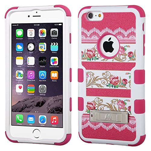 Nagebee(Tm) - Iphone 6 Plus 5.5 Inch Case - Design Premium Heavy Duty Defender Hybrid Phone Cover Case With Metal Stand + {Lcd Screen Protector Shield(Ultra Clear) + Dust Speaker Plug + Touch Screen Stylus} (Stand Hybrid Pink Damask Flower/Hot Pink)