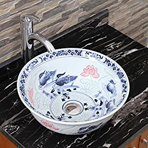 Blue And White Vessel Sink : 2023 Lovebirds Blue and White Porcelain Ceramic Bathroom Vessel Sink ...