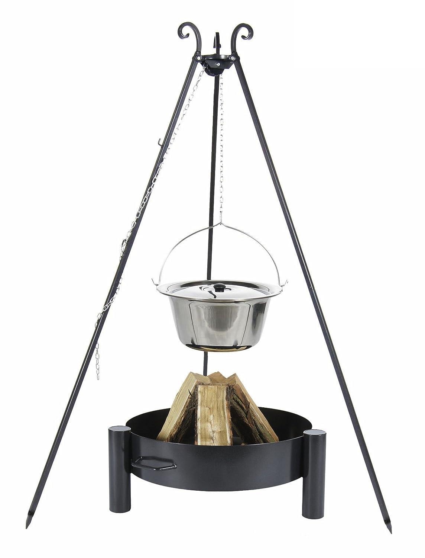 Gulaschkessel 14 ltr. Edelstahl mit Deckel auf Dreibein, inkl. Feuerschale # 33 bestellen