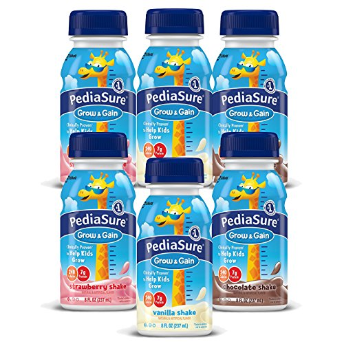 PediaSure Grow & Gain, Nutritional Protein Shake for Kids 8 fl oz (6 Count) Variety Pack Drinks with Strawberry, Chocolate, Vanilla. Contains 25 Vitamins, Minerals, Suitable for Lactose Intolerance