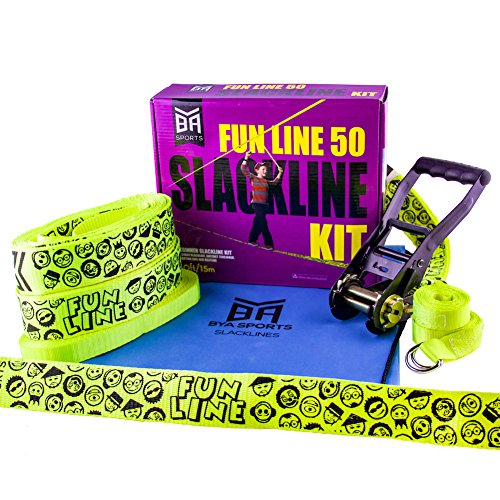 BYA Fun Line Slackline 50ft Includes Overhead Helpline and Carrying Bag (Ninja Warrior Equipment compare prices)