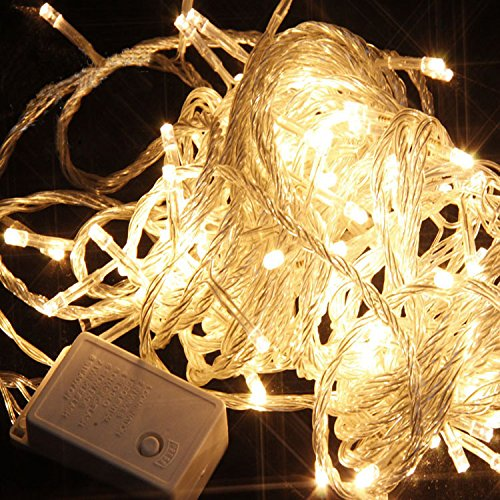 Hikong 10M 100 Led Christmas Festival Party Wedding Portable Flash Fairy String Light 8 Modes 110V Connectable With Tail Plug For Decoration Lighting (Warm White) Pack Of 2
