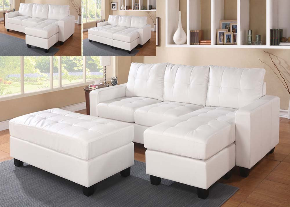 Lyssa White Set Sectional with Ottoman