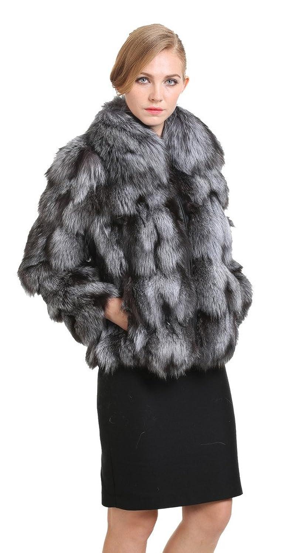 Vogueearth Damen 100%Echt Silber Fuchs Fell Pelz Winter Mantel Jacke Pelzjacke Felljacke Pelzmantel Fellmantel