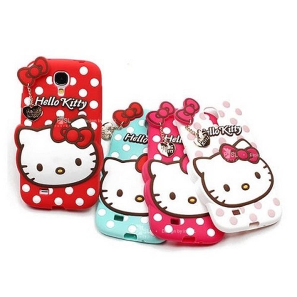 Galaxy s6 hello kitty Cartoon Case With Pendant Rubber Back