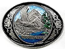 Washington State Enamel Pewter Belt Buckle