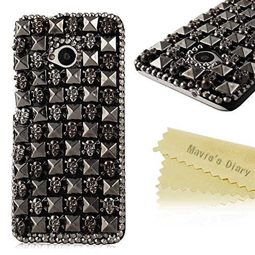 htc-one-m7-case-htc-one-m7-cover-maviss-diary-3d-handmade-retro-punk-crystal-rhinestone-gems-skulls-