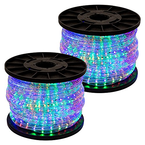 300' Rgb Multi Color 2-Wire Led Rope Light Home Outdoor Christmas Party Lighting